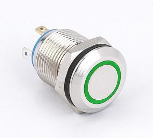PBW-12A Przycisk wandaloodporny, bistabilny 2A 250V, klawisz płaski z zielonym podświetleniem 3V