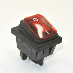 KCD4-R 16A 250V podwójny ON-OFF IP65 czerwony
