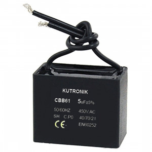 Kondensator silnikowy 1.2uF/450VAC z przewodami CBB61