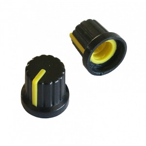 Gałka potencjometru czarna 15mm żółta