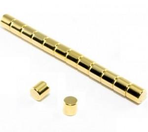 Magnes neodymowy okrągły 5x5mm złoty