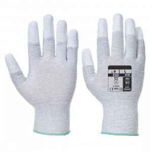 Rękawiczki antystatyczne ESD powlekane poliuretanem na palcach szare rozmiar XL A198GRRXL