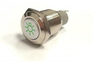 PBW-16BŻ Przycisk wandaloodporny monostabilny 2A 250V klawisz płaski symbol żarówki podśw zielone