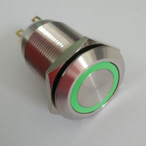 PBW-19AP Przycisk wandaloodporny bistabilny 2A 250V klawisz płaski z zielonym podświetleniem 12V