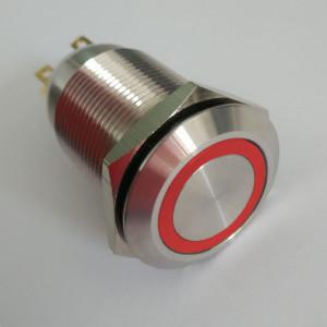 PBW-19AP Przycisk wandaloodporny bistabilny 2A 250V klawisz płaski z czerwonym podświetleniem 12V