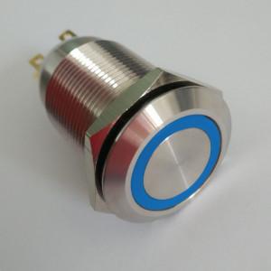PBW-19AP Przycisk wandaloodporny bistabilny 2A 250V klawisz płaski z niebieskim podświetleniem 12V