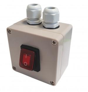 KCD4-R 16A 250V podwójny ON-OFF IP65 czerwony w hermetycznej obudowie