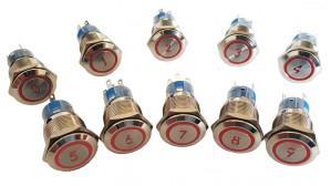 """PBW-19B1R Przycisk wandaloodporny, monostabilny 2A 250V cyfra """"1"""" klawisz płaski podśw. czerwone 12V"""
