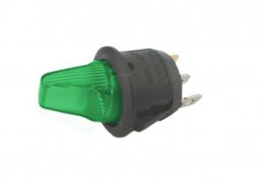 Przełącznik hebelkowy KCD1-101G zielony ON-OFF 6A/250V podświetlenie 12V
