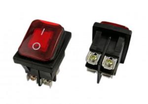 KCD4S-R 16A 250V podwójny ON-OFF IP65 ze złączem śrubowym czerwony