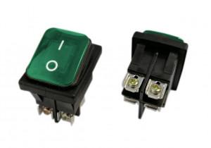 KCD4S-G 16A 250V podwójny ON-OFF IP65 ze złączem śrubowym zielony