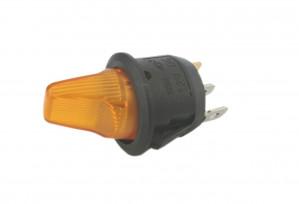 Przełącznik hebelkowy KCD1-101Y żółty ON-OFF 6A/250V podświetlenie 230V