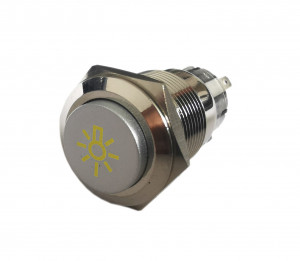 PBW-19BŻ Przycisk wandaloodporny monostabilny 2A 250V klawisz wystający symbol żarówki podśw żółte