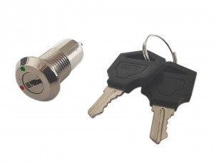 Przełącznik z kluczykiem PBW-12KE 2A/250V 2 pozycje ON-OFF, długi 25mm