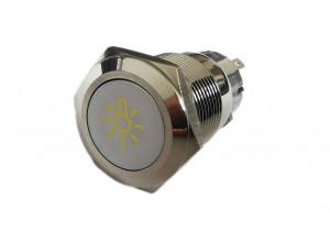 PBW-19BŻ Przycisk wandaloodporny monostabilny 2A 250V klawisz płaski symbol żarówki podśw żółte